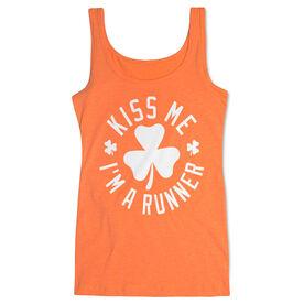 Running Women's Athletic Tank Top - Kiss Me I am a Runner Shamrock
