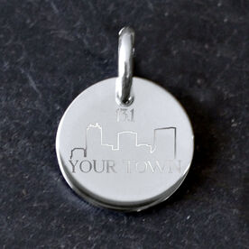 Sterling Silver 16mm Circle Charm 13.1 Your Town