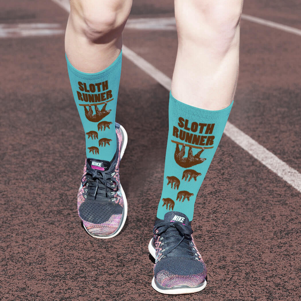 Sloth Runner Printed Mid Calf Socks