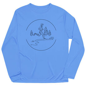 Men's Running Long Sleeve Tech Tee - Trail Runner Sketch