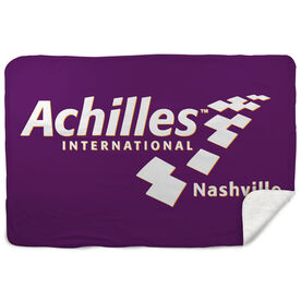 Running Sherpa Fleece Blanket - Achilles International - Nashville Logo