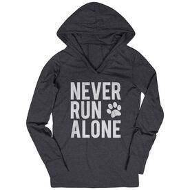 Women's Running Lightweight Performance Hoodie - Never Run Alone (Bold)