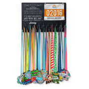 Running Large Hooked on Medals and Bib Hanger - Chalkboard As Every Runner Knows