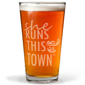Running 16 oz Beer Pint Glass - She Runs This Town Stacked