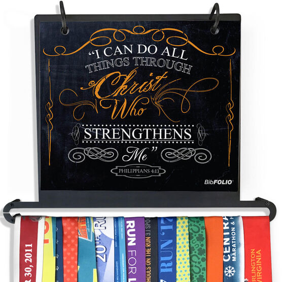 BibFOLIO+™ Race Bib and Medal Display - I Can Do All Things Through Christ Chalkboard