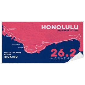 Running Premium Beach Towel - Honolulu 26.2 Route
