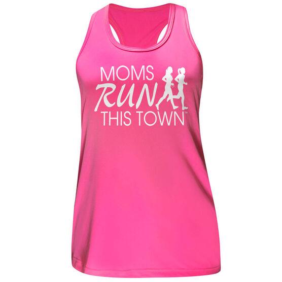 Women's Performance Tank Top - Moms Run This Town Logo (White)