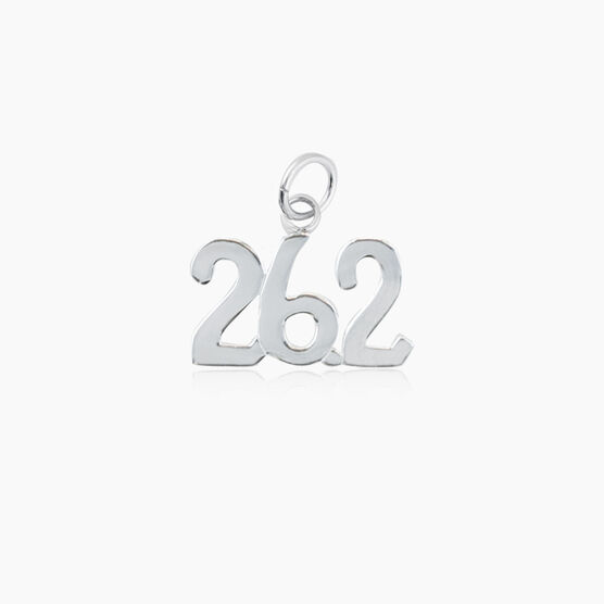 Sterling Silver 26.2 Marathon Charm (Rounded)