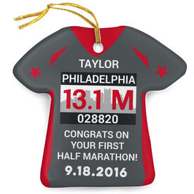 Running Porcelain Ornament Philadelphia Half Marathon Shirt Ornament