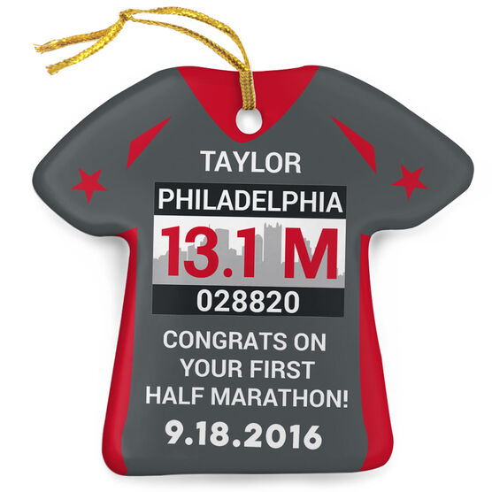 Running Porcelain Ornament Philadelphia Half Marathon Shirt Ornament
