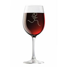 Run Girl Stick Figure Wine Glass