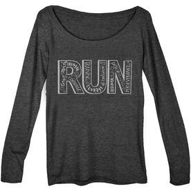 Women's Runner Scoop Neck Long Sleeve Tee Run With Inspiration