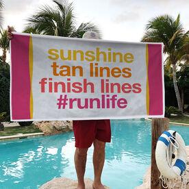 Running Premium Beach Towel - Sunshine Tan Lines Finish Lines