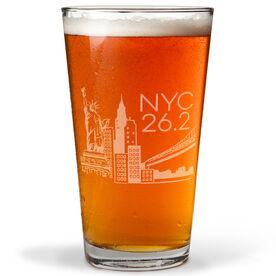 Running 16 oz Beer Pint Glass - New York City Sketch