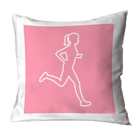 Running Throw Pillow - Female Runner Outline