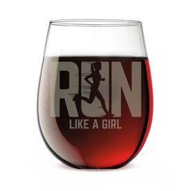 Running Stemless Wine Glass - Let's Run Like A Girl