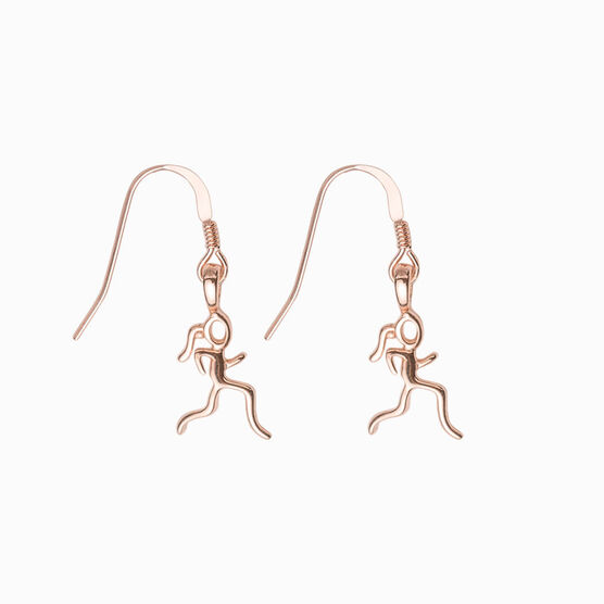Rose Gold Mini Running Stick Figure Earrings
