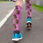 Printed Knee-High Socks - Custom Heart Face Photo