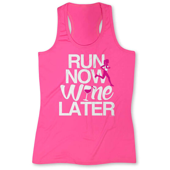 Women's Performance Tank Top Run Now Wine Later (Bold)