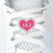 LaceBLING Shoelace Charm - 13.1 Half Marathon Pink Heart