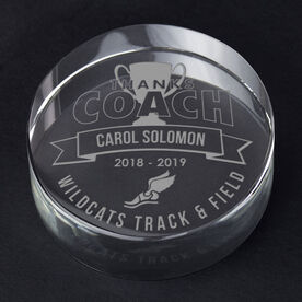 Track and Field Personalized Engraved Crystal Gift - Thanks Coach Banner