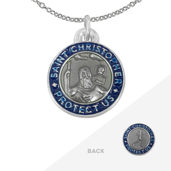Runners St. Christopher Medal Necklace - Silver/Navy (1.9cm)