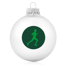Running Glass Ornament Runner Guy Silhouette