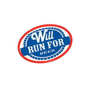 Will Run for Beer Mini Car Magnet - Fun Size
