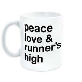 Running Coffee Mug - Peace Love & Runner's High