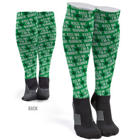 Running Printed Knee-High Socks - Kiss Me I'm A Runner
