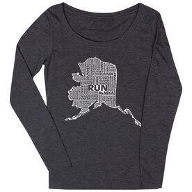 Women's Scoop Neck Long Sleeve Runners Tee Alaska State Runner