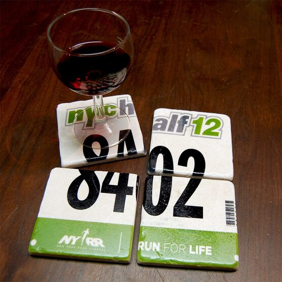 Your Race Bib on Set of 4 Coasters BibCOASTERS - Stone Coaster
