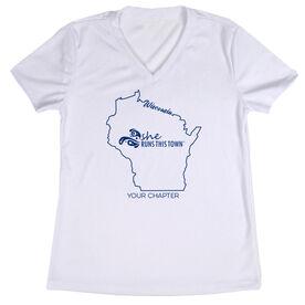 Women's Running Short Sleeve Tech Tee - She Runs This Town Wisconsin Runner