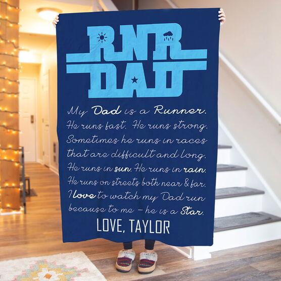 Running Premium Blanket - My Dad Is A Runner
