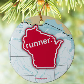 Wisconsin State Runner (Red/White) Porcelain Ornament