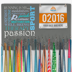 Hooked On Medals Bib & Medal Display Running Is My Passion - Gray - SS