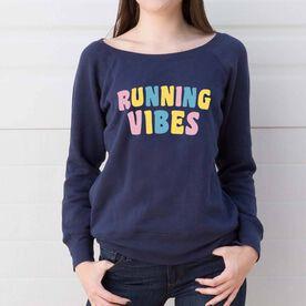 Running Fleece Wide Neck Sweatshirt - Running Vibes