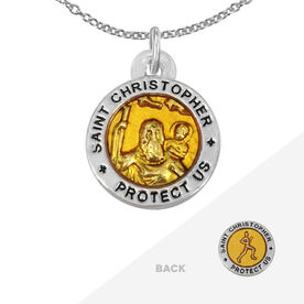Runners St. Christopher Necklace - Orange (1.5cm)