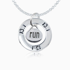Sterling Silver 13.1 Half Marathon Message Ring and Sterling Silver Oval Run Charm Necklace