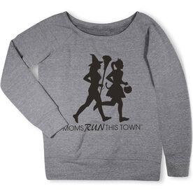 Running Fleece Wide Neck Sweatshirt - Moms Run This Town Halloween
