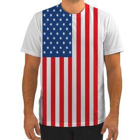 Men's Running Customized Short Sleeve Tech Tee American Flag