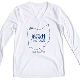 Women's Running Long Sleeve Tech Tee - Moms Run This Town Ohio Runner