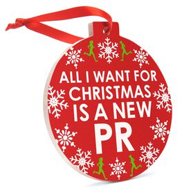 Running Round Ceramic Ornament - All I Want for Christmas