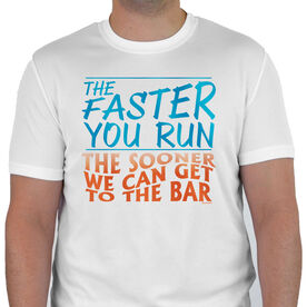 Men's Running Customized Short Sleeve Tech Tee The Faster You Run The Sooner We Can Get To The Bar