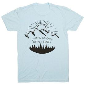 Running Short Sleeve T-Shirt - Life's Short Run Long (Mountains)
