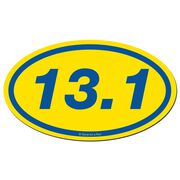 13.1 Half Marathon Car Magnet - Yellow