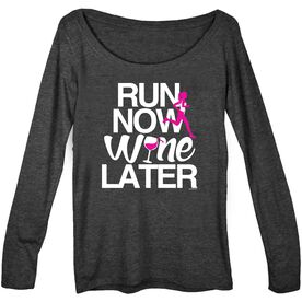 Women's Runner Scoop Neck Long Sleeve Tee Run Now Wine Later (Bold) - [Vintage Black/Adult Small] - SS