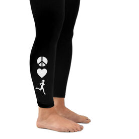 Running Leggings - Peace Love Runner Girl (Symbols)