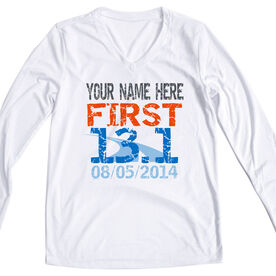 Women's Customized White Long Sleeve Tech Tee First Half Marathon (Distressed)