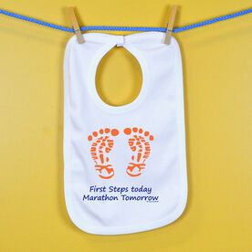 First Steps Today. Marathon Tomorrow Baby Bib